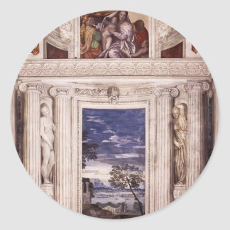 Paolo Veronese: End wall of the Stanza del Cane Round Sticker