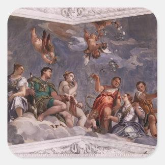 Paolo Veronese: Hyman, Juno y Venus Calcomanías Cuadradas Personalizadas