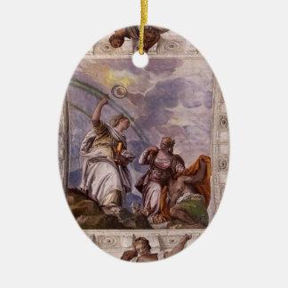 Paolo Veronese: Mortal Man guiding Divine Eternity Christmas Ornaments