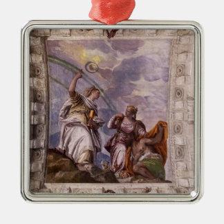 Paolo Veronese: Mortal Man guiding Divine Eternity Christmas Tree Ornaments