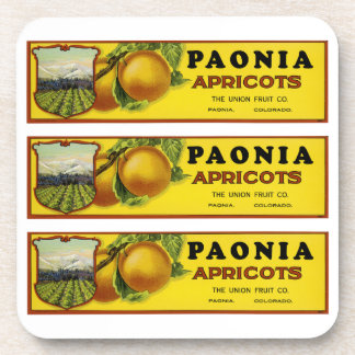 Paonia Apricots Label Art Drink Coaster