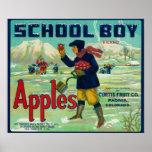 Paonia, Colorado - School Boy Apple Label Poster