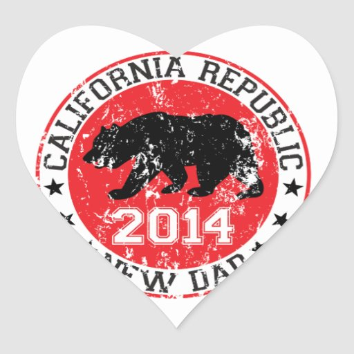 papá 2014 de la república de California nuevo Pegatina En Forma De Corazón