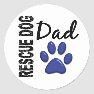 Papá 2 del perro del rescate etiqueta redonda