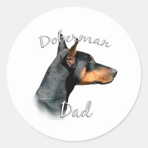 Papá 2 del Pinscher del Doberman (negro) Pegatina Redonda
