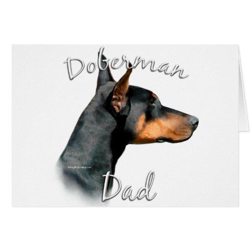 Papá 2 del Pinscher del Doberman (negro) Tarjeta De Felicitación