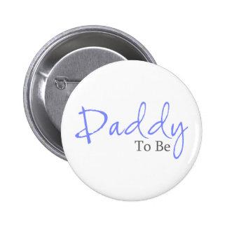 Papá a ser (escritura azul) pin redondo de 2 pulgadas