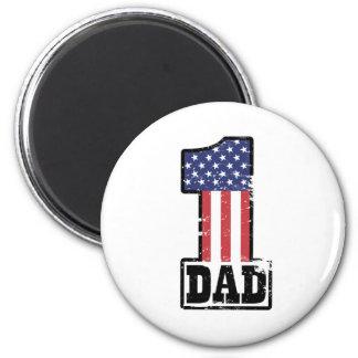 Papá americano del número uno imán redondo 5 cm
