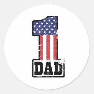 Papá americano del número uno pegatina redonda