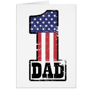 Papá americano del número uno tarjeta de felicitación