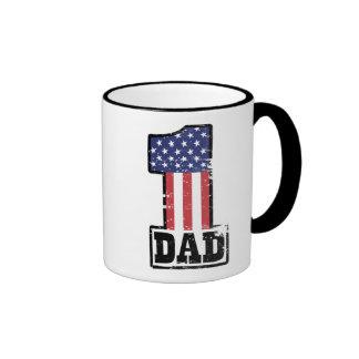 Papá americano del número uno taza de dos colores