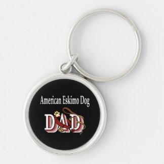 PAPÁ americano del perro esquimal Llavero Redondo Plateado