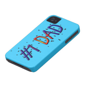 Papá azul del día de padre #1 iPhone 4 Case-Mate protectores