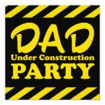 Papá bajo fiesta de la construcción invitación 13,3 cm x 13,3cm