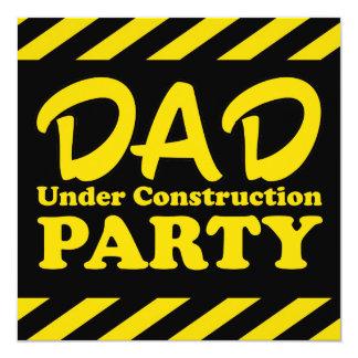 """Papá bajo fiesta de la construcción invitación 5.25"""" x 5.25"""""""