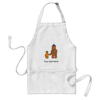 Papa bear and son cartoon adult apron