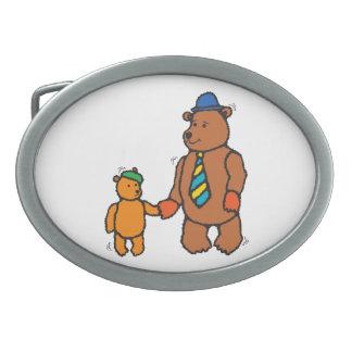 Papa bear and son cartoon oval belt buckle