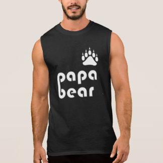 Papa Bear Bear Paw (White) Sleeveless Shirt