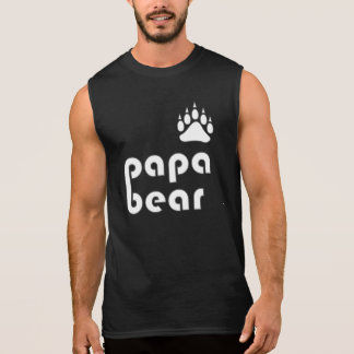 Papa Bear Bear Paw (White) Sleeveless Shirt