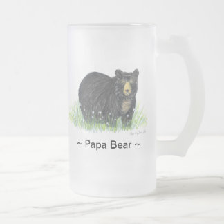 ~Papa Bear ~ Black Bear Lg. glass mug