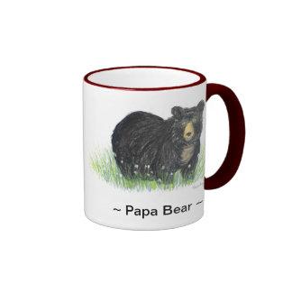 ~Papa Bear ~ Black Bear maroon trim mug