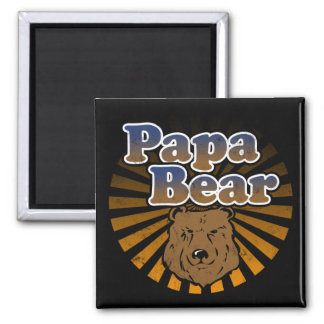 Papa Bear, Cool Fathers Day Vintage Look 2 Inch Square Magnet