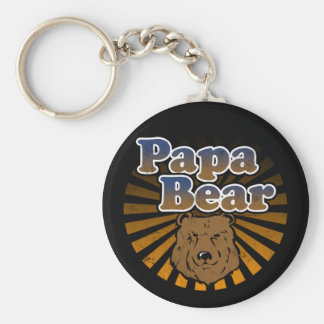 Papa Bear, Cool Fathers Day Vintage Look Basic Round Button Keychain