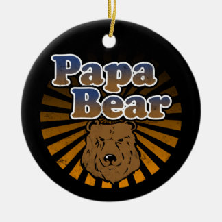 Papa Bear, Cool Fathers Day Vintage Look Ceramic Ornament