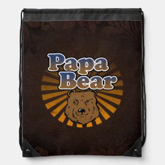 Papa Bear, Cool Fathers Day Vintage Look Drawstring Bag