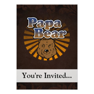 Papa Bear Cool Fathers Day Vintage Look Cards