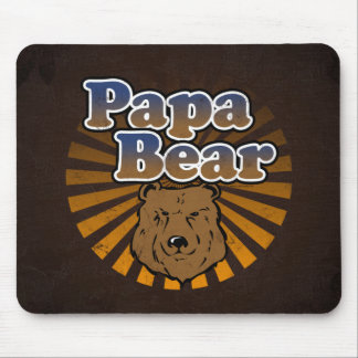 Papa Bear Cool Fathers Day Vintage Look Mouse Pad