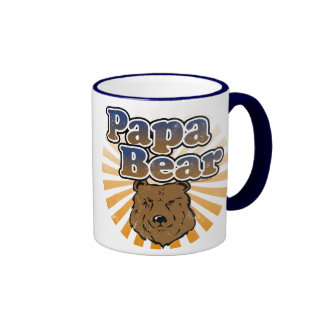 Papa Bear, Cool Fathers Day Vintage Look Ringer Coffee Mug