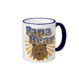Papa Bear, Cool Fathers Day Vintage Look Ringer Mug