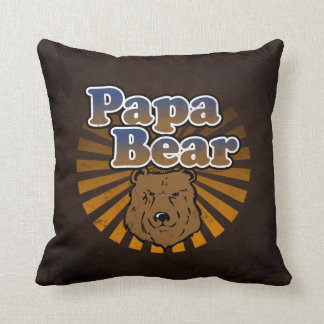 Papa Bear, Cool Fathers Day Vintage Look Throw Pillow
