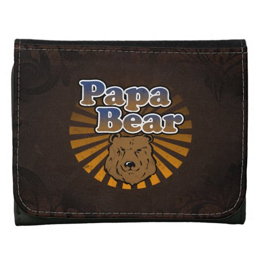 Papa Bear, Cool Fathers Day Vintage Look Wallets