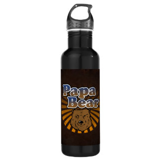Papa Bear, Cool Fathers Day Vintage Look Water Bottle