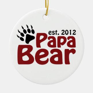 Papa Bear Est 2012 Ceramic Ornament