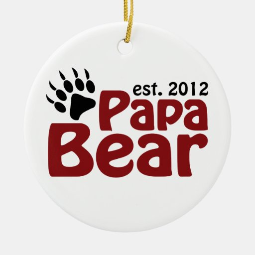 Papa Bear Est 2012 Double-Sided Ceramic Round Christmas Ornament