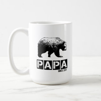 Papa Bear for Dad 2014, Grunge Black Coffee Mug