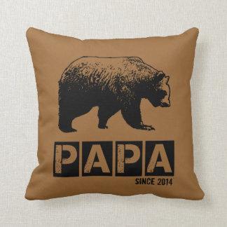 Papa Bear for Dad 2014, Grunge Black Throw Pillow