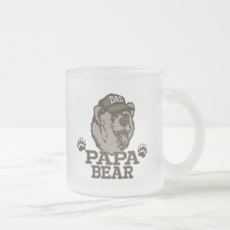 Papa Bear Gift Ideas for Dad Frosted Glass Coffee Mug