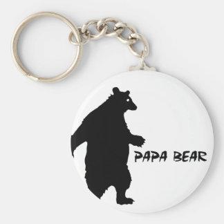 Papa Bear Basic Round Button Keychain
