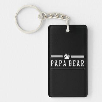 Papa Bear Double-Sided Rectangular Acrylic Keychain