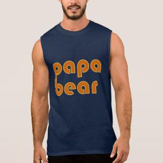 Papa Bear Orange Sleeveless T-shirts