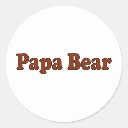 Papa Bear Round Stickers