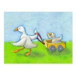 Papá - bebé del pato del papá del padre en arte li postal