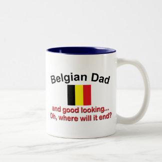 Papá belga apuesto taza de dos tonos