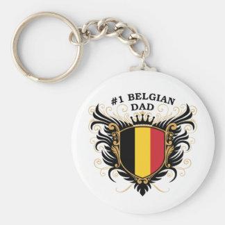 Papá belga del número uno llavero redondo tipo pin