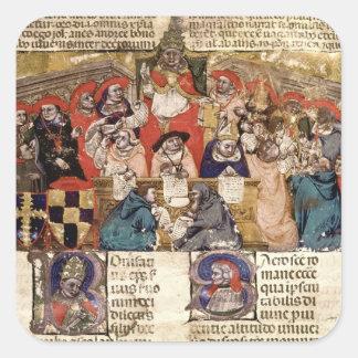 Papa Bonifacio VIII que preside a Calcomania Cuadradas Personalizadas