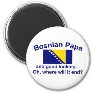 Papá bosnio apuesta imán redondo 5 cm